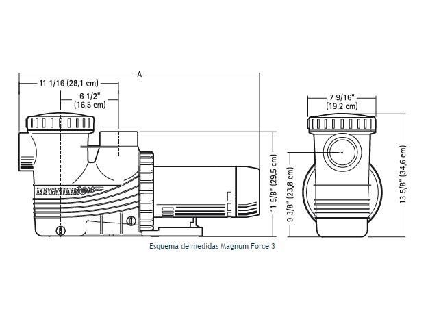 Motobomba magnum force 3 jacuzzi bombas para albercas for Medidas de jacuzzi